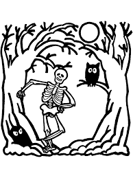 halloween coloring page skeleton primarygames play free