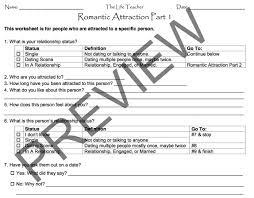 Grief Worksheets Romantic Attraction Worksheet