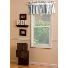 gray and white dots and stripes window valance rod pocket