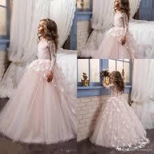 2017 princess pink ball gown flower dress long sleeve