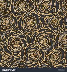 art deco floral seamless pattern roses stock vector 200866583