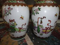 Chinese Hand Painted Porcelain Vases Antique Chinese 2 Oriental Porcelain Vase Set Hand Painted Gold