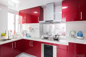 lovely red and ivory remodel kitchen design with l shapes cabinet