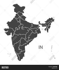 World Map With States by India Map With States Grey Vector Isolated High Res Stock Vector