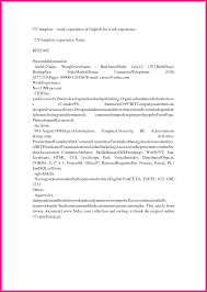 Resume Template For Work Experience 9 How To Write Work Experience In Cv Example