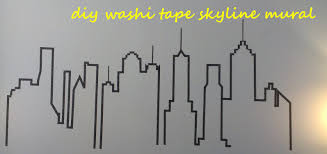 washi tape skyline mural supergluechic image
