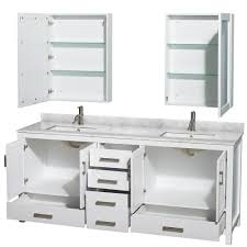 sheffield 80 inch double sink bathroom vanity white finish set by