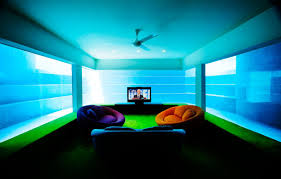 Home Lighting Design In Singapore by Seafront Home In Singapore With Underwater Media Room
