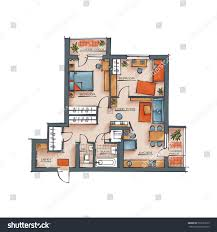 architectural color floor plan two bedrooms stock vector 501023275