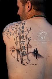 symbols and birch tree on left back shoulder