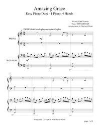 amazing grace easy piano duet 1 piano 4 sheet