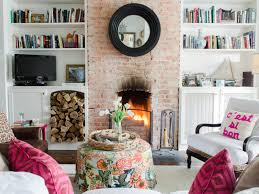 Living Room Designs With Red Brick Fireplace Exposed Beige Brick Wall Along Best Gray Paint Room Decoration