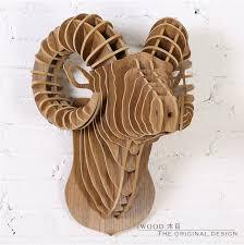wall ram creative sheep home accessories 3d diy wooden sculpture