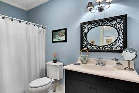 bathroom basin ideas navy blue bathroom ideas white stained wooden frame ventilation
