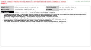 accident prevention squad police officer resume sample