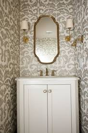 black decor accents done right white wallpaper powder room and