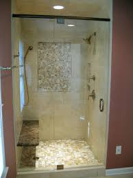 deep red and light brown open shower bathroom design ideas with