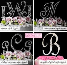 crystal monogram wedding cake toppers