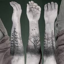 trees forest black ink winter birds tatoo