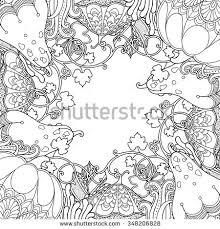 nature garden frame pumpkins leaves doodle stock vector 348206828