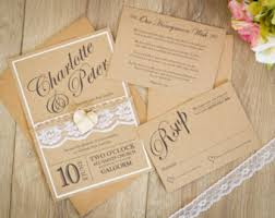handmade wedding invitations rustic wedding invitation etsy uk