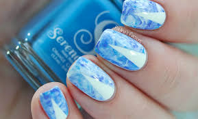 blue stamping marble nail art video tutorial