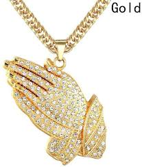 hip hop style necklace images Fashion hip hop style jewelry golden cz cross praying hands charm jpg