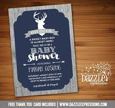 rustic woodland deer baby shower invitation baby boy shower