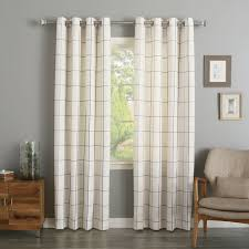 Navy Buffalo Check Curtains Best Home Fashion Inc Grommet Grid Stitched Linen Blend Plaid For