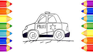 draw and coloring police car for children coloring page learning