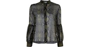 snake print blouse lyst balmain snake print silk blouse in green