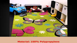 Pink And Green Rugs For Girls Room Kids Carpet With Butterfly Design Childrens Room Rug Green Cream