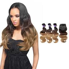 ombre weave ombre hair closure with wavy hair weave