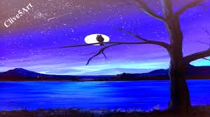easy sky moon acrylic painting for beginners easy