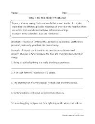 figurative language worksheets pun worksheets