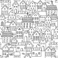 seamless pattern background with european houses in black and wh