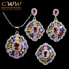 accessories ring necklace images Cwwzircons cubic zirconia indian silver 925 jewelry sets for women jpg