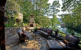 Low Patio Furniture Lake House Decorating Ideas Patio Traditional With Low Stone Wall