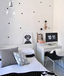 modern white desk and cozy chair for bedroom office ideas beside white bed under big bulb