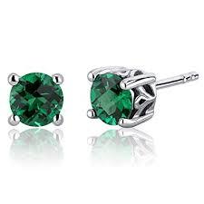 emerald stud earrings 1 50 carats simulated emerald cut stud earrings
