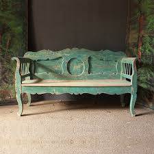 gorgeous original green blue painted bench benches