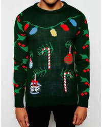 christmas tree jumper with lights lyst d struct christmas tree jumper in green for men