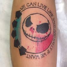 my blink 182 jack skellington calf tattoo by azarja van der veen