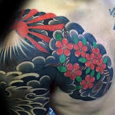 cherry bloosom flowers and rising sun on chest and shoulder