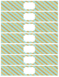 mint and gold water bottle wrappers paper trail design