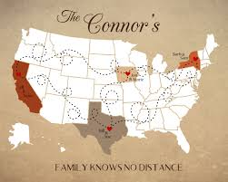 long distance family map personalized map for family living far