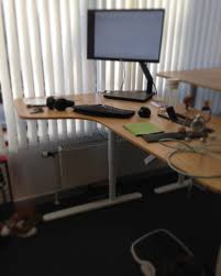 Sit Stand Desk Ikea by New Desk At Work An Ikea Sit Stand Electric Corner Desk