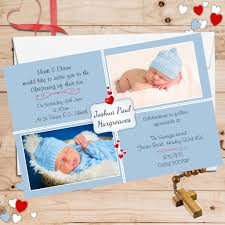 Baptism Card Invitation 10 Personalised Boys Red Hearts Christening Baptism Invitations