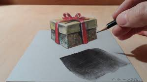 drawing a 3d gift levitating illusion