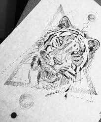 uncolored tiger portrait on dotwork geometric drawings tattoo